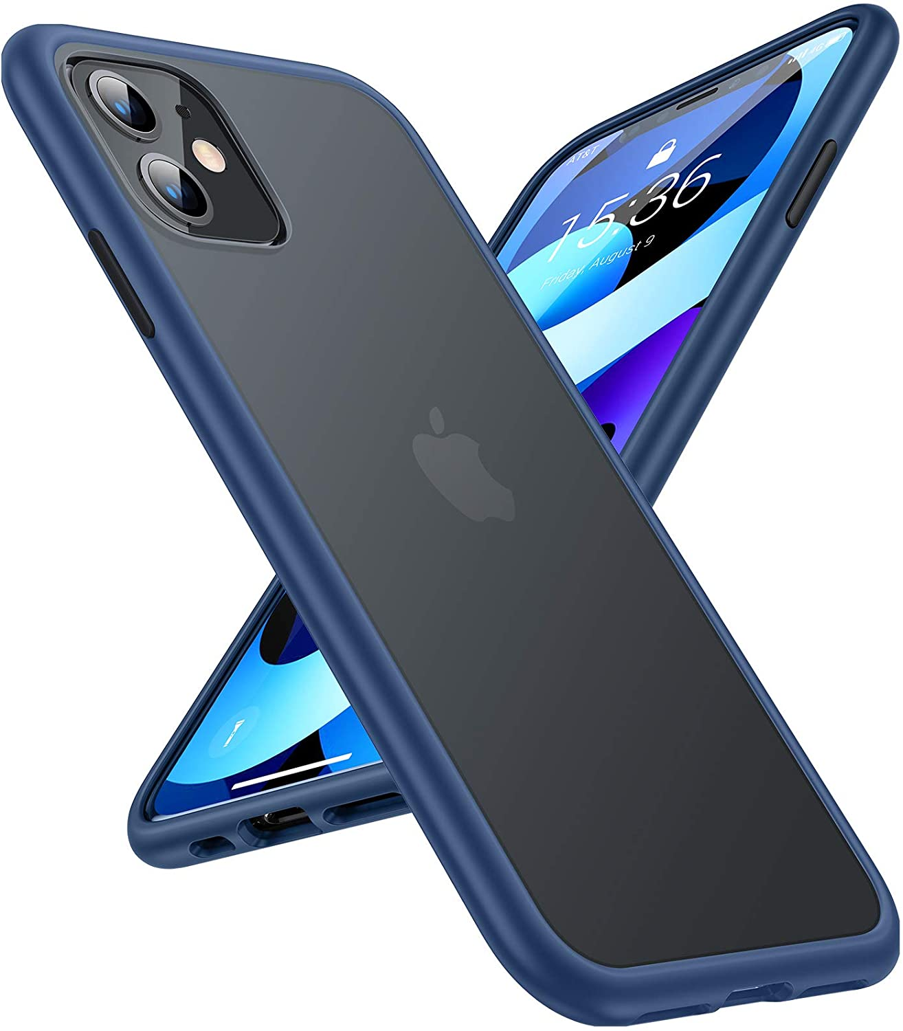 TORRAS Shockproof Compatible for iPhone 11 Case, [6FT Military Grade Drop Protection] Translucent Hard Back with Silicone Bumper, Slim Non-Slip iPhone 11 Phone Case (6.1''), Cerulean Blue