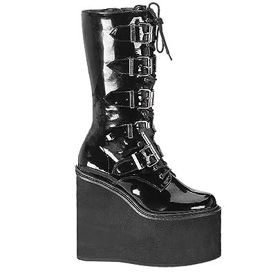 Demonia Charade-206 - Gothic Punk Industrial Plateau Stiefel 36-43, Größe:EU-38 / US-8 / UK-5
