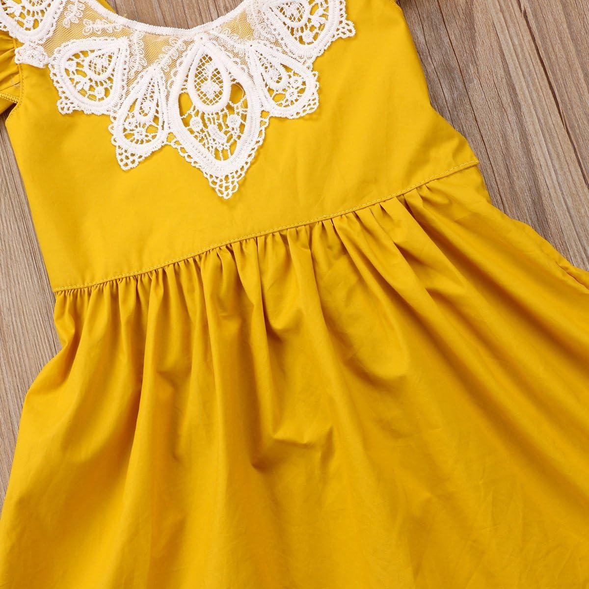 Infant Toddler Flower Girl Romper Lace Collar Cotton Ruffle Sleeve Baby Girls Spring Dresses