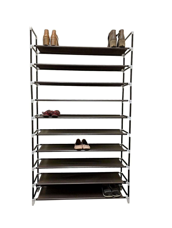 Möbelmaster 10 Tier 2X 5 Tier Shoe Rack 50 Pairs Organiser Shelf Tower Non-Woven Fabric