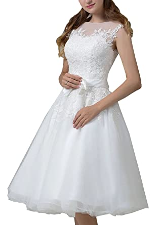 Amazon.com: Short Wedding Dresses Onlybridal Sleeveless A Line Tulle ...
