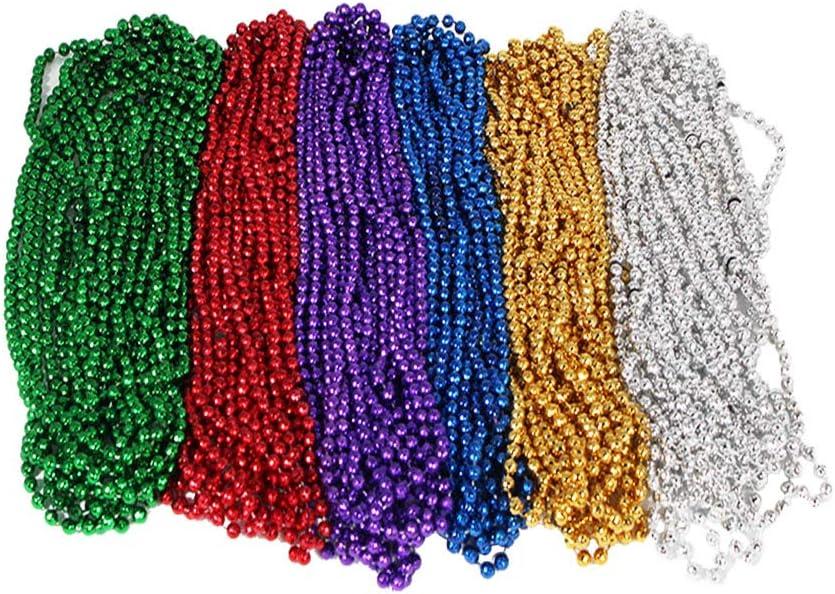 Vansoon Collares de Bolas de Discoteca Mardi Gras,Collares de Abalorios Festivos,Collares de Cuentas de Perlas Flapper Beads Disfraces de Fiesta Accesorio Favor de Fiesta para Ducha (72 pcs)