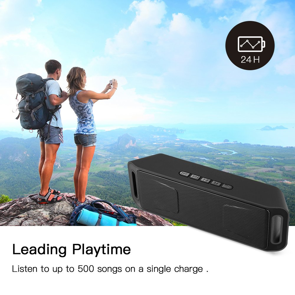 Portable Bass Dual Stereo Speaker Wireless Bluetooth Speaker Support Handsfree AUX USB TF Card Mic for iPhone /iPad/Phones/Tablet/Computer (Black) by SUOKO (Image #6)