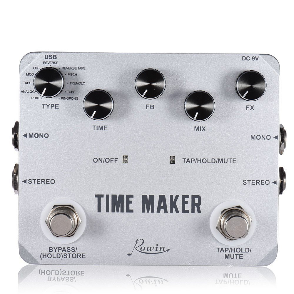 Rowin Delay Effektpedal mit 11 Arten von Delay-Effekten Grey-Time Maker LTD-02