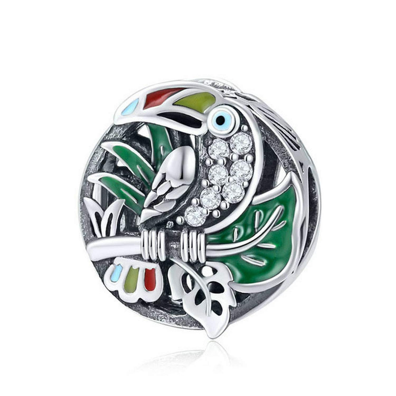 Evereena Silver Beads Bracelet for Girls Green Toucan Enamel Bird Charm Womens Jewelry