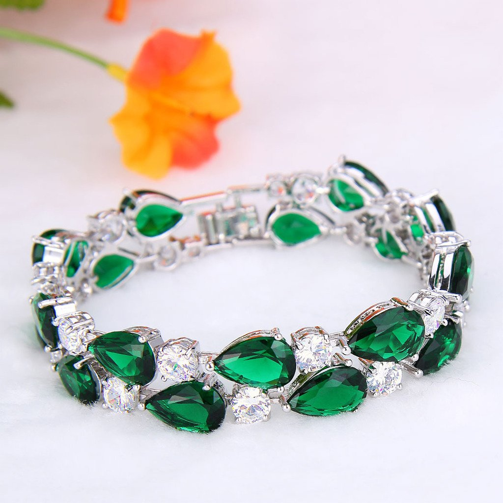 Vintage Style Jewelry, Retro Jewelry EVER FAITH Womens Prong Cubic Zirconia Vintage Style Dual Layer Tear Drop Bracelet $24.99 AT vintagedancer.com