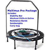 MaXimus PRO Folding Rebounder | Voted #1 Indoor Exercise Mini Trampoline For Adults With Bar | Best Home Gym for Fitness…