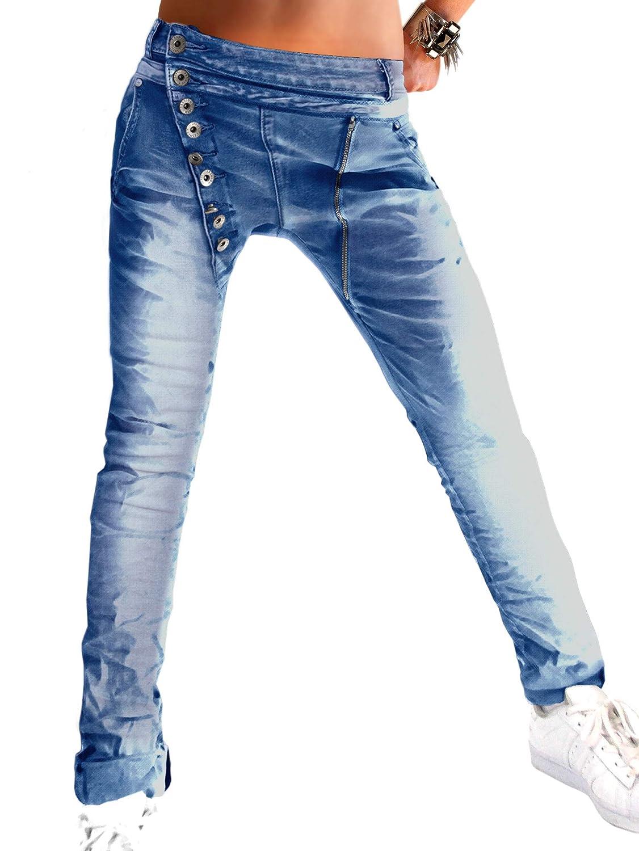 Damen Skinny PushUp Stretch Hose langer schräger Knopfleiste