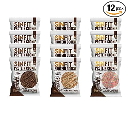 SINFIT Protein Cookies 3-flavor Variety Pack by Sinister Labs - Birthday Cake, Chocolate Chip & Peanut Butter! Soft baked, packed with 20g of protein ...