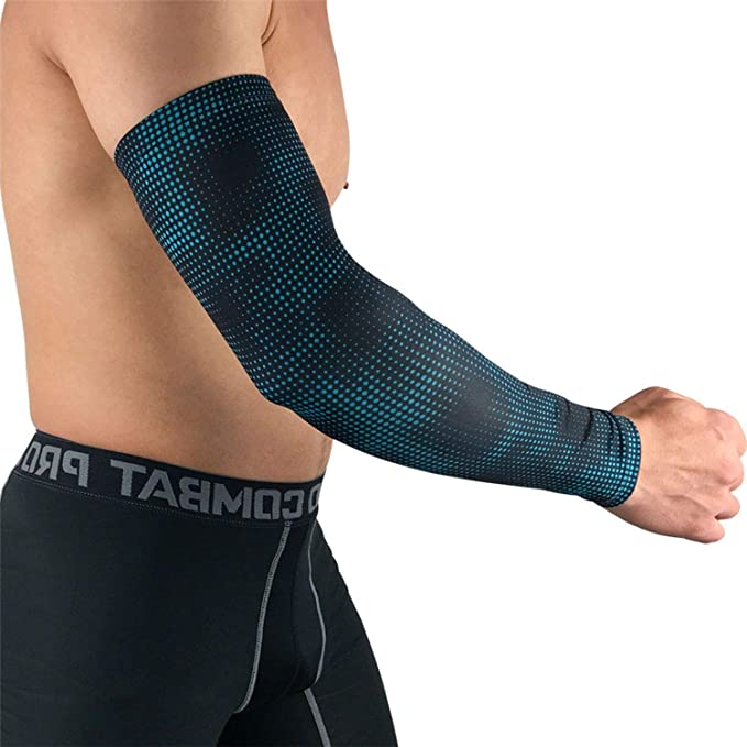 2a905192c6 Amazon.com: 1 Pcs Printed Sports Running Arm Sleeves Breathable Lycra  Basketball Compression Arm Sleeves Cover for Sun Protection: Clothing