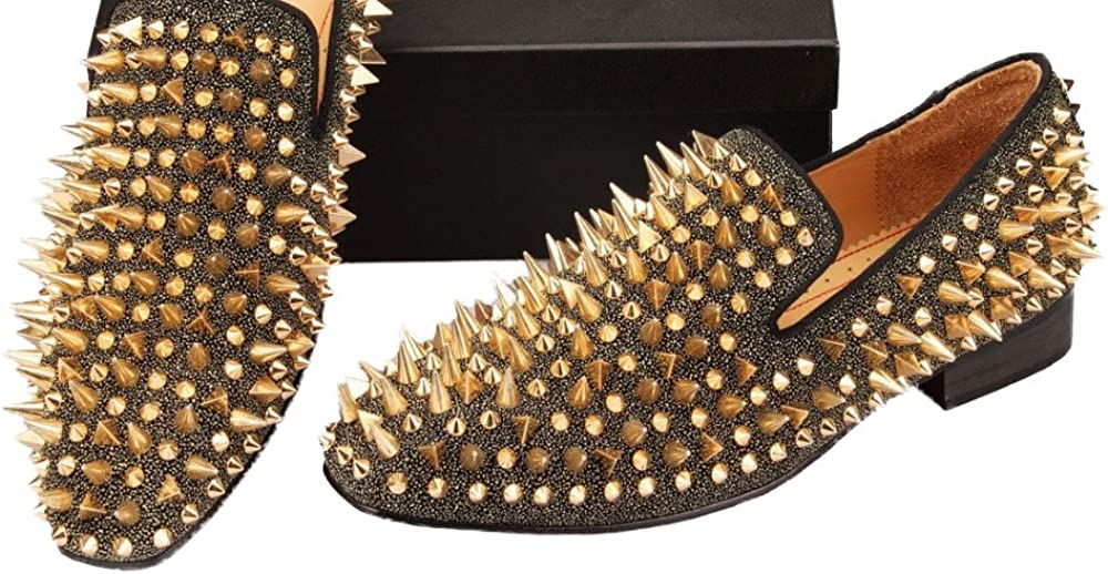 Merlutti Gold Rhinestones Spiked Loafers Long Rivets Sparkly Men Prom Wedding Shoes