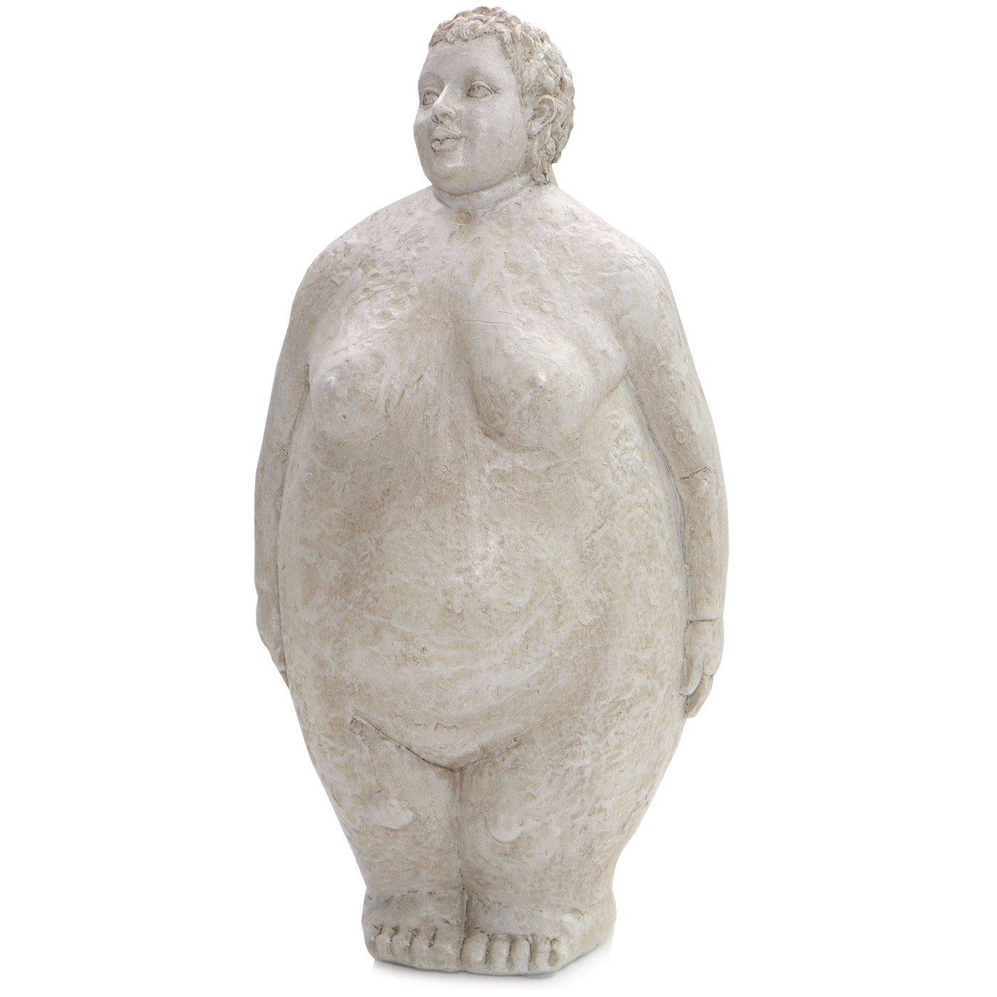 Frauen Skulptur ° HILDA° Dicke Dame in Steinoptik ° Garten Figur ° Deko H 61 cm