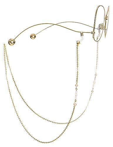 MINI TREE Brillenketten für Lesebrillen Perlen Brillenband Damen Lesebrille Brille Kette Sonnebrillen Band Kreuz Cords Hals C