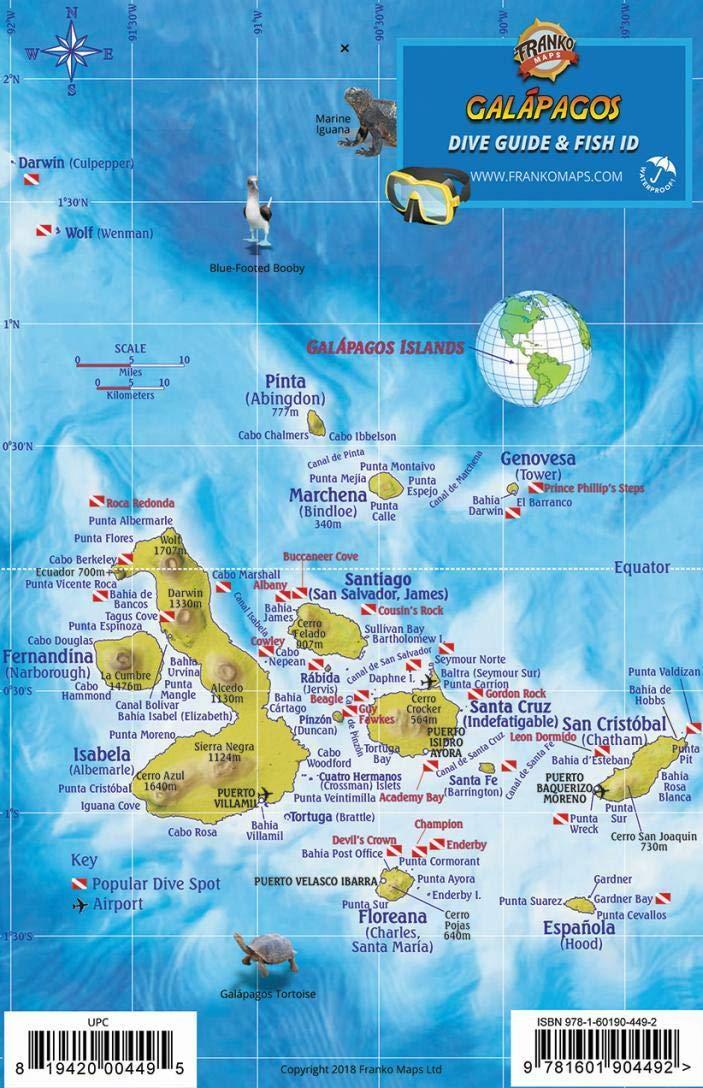 Galapagos Islands Dive Map Sea Creatures Franko Maps