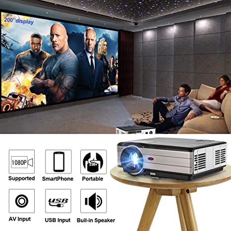 Proyector de video CAIWEI 4000 lúmenes Soporte Full HD 1080P, cine ...