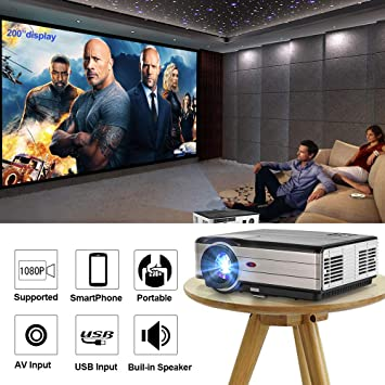 Proyector de video CAIWEI 4000 lúmenes Soporte Full HD 1080P, cine ...