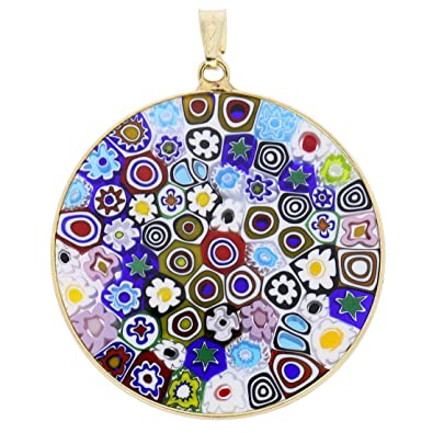 Amazon murano glass millefiori pendant in 24ct gold finished murano glass millefiori pendant in 24ct gold finished sterling silver frame 1 1 aloadofball Images
