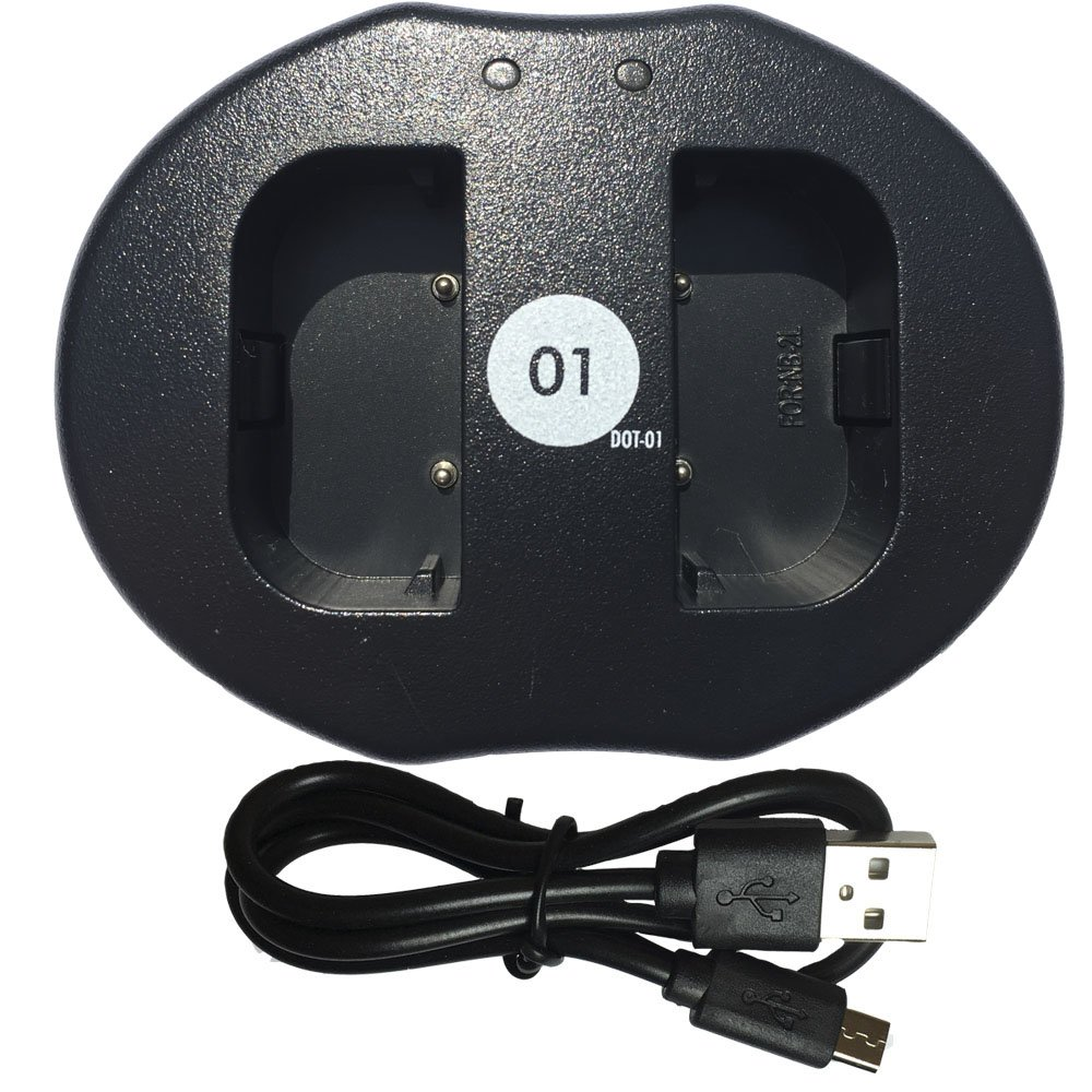 DOT-01 Replacement Dual Slot USB Charger for Canon NB-2L and Canon VIXIA HF R11 Camcorder and Canon NB2L