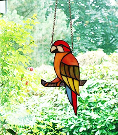 Makenier Tiffany Style Stained Glass Red Parrot Window Hanging Sun Catcher