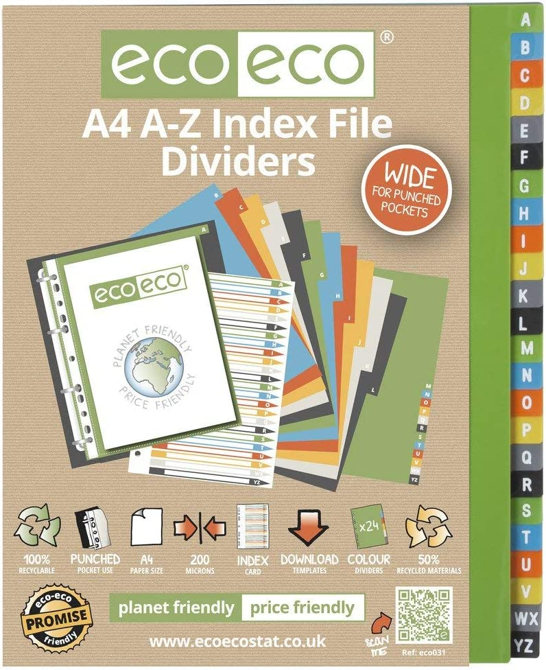 eco-eco A4 50/% Reciclada Set 10 Divisores Archivo de /Índice