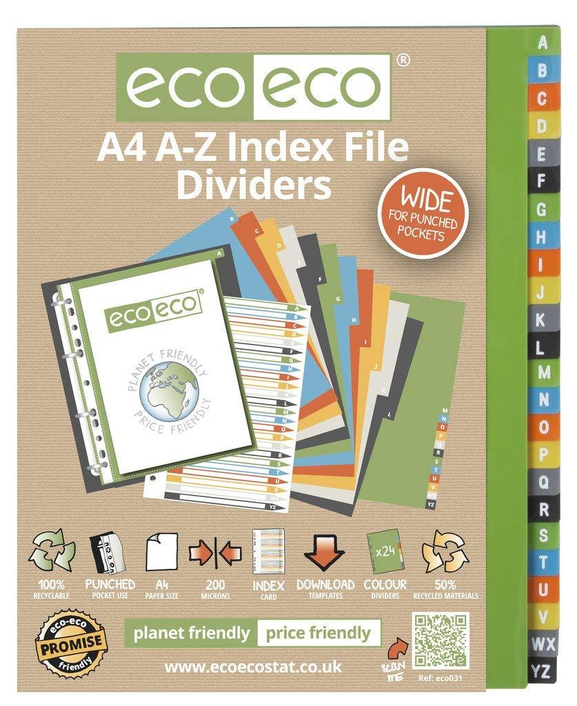 1 Set x 24pk eco-eco A4 50/% Riciclato A-Z Larga Index Fascicolo Plastica Divisori