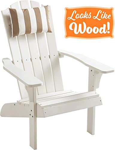 PolyTEAK Element Faux Wood Poly Adirondack Chair with Detachable Head Pillow, White Adult-Size, Weather Resistant, Made from Special Formulated Poly Lumber Plastic