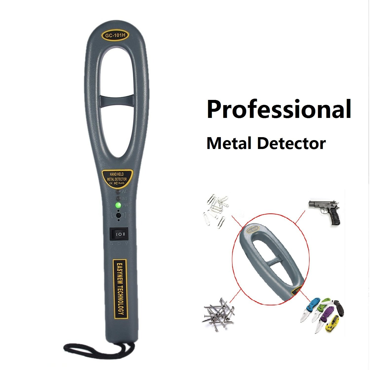 Teepao Professional Heavy Duty Metal Detector Hand Held Metal Detecting Probe Scanner Portable Treasure Finder Hunter Sensitivity Adjustable, with LED Indicator&Buzzer Vibration for Security Check