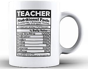 Shop4Ever Teacher Nutritional Facts Ceramic Coffee Mug Tea Cup