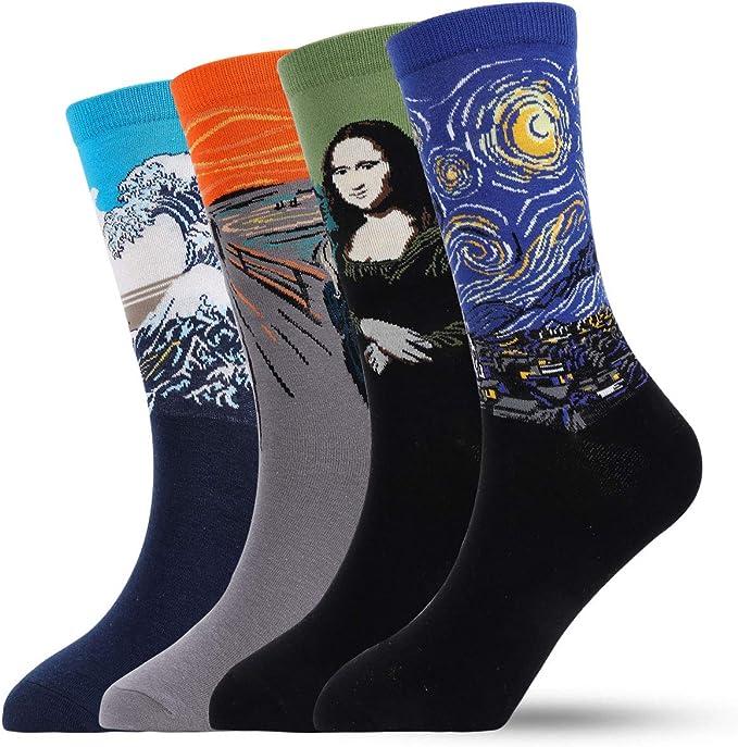 Men Fun Dress Socks Funky Male Socks, Casual Stylish Novelty Crew Socks For Man, Colorful Printed Cotton Socks Christmas Gift Set