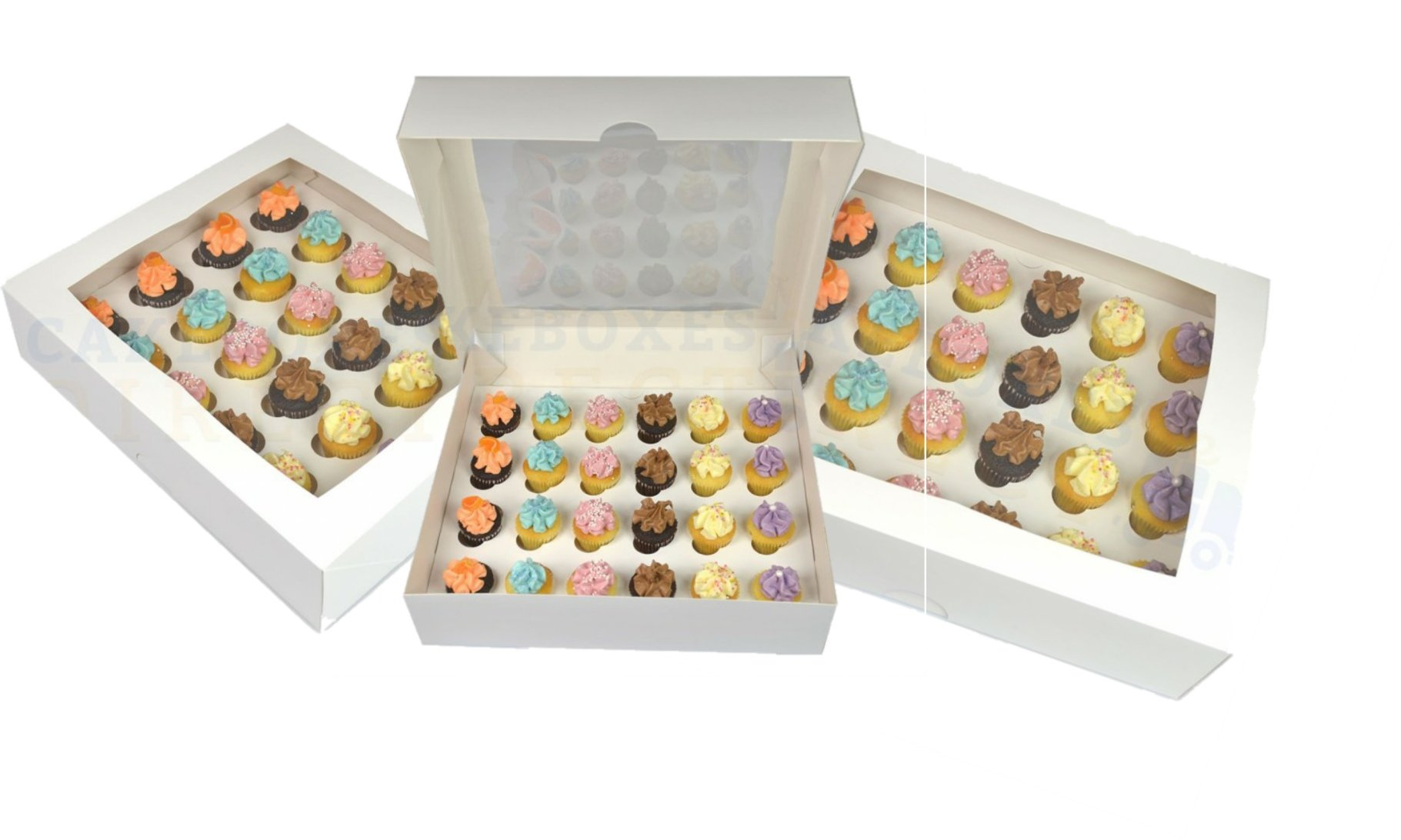 Premium Mini Cupcake Box for 24 Cupcakes with Window and Divider (Five Pack)