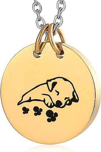 Beydodo Edelstahl Urne Kette mit Anhänger Rund Tag mit Hund
