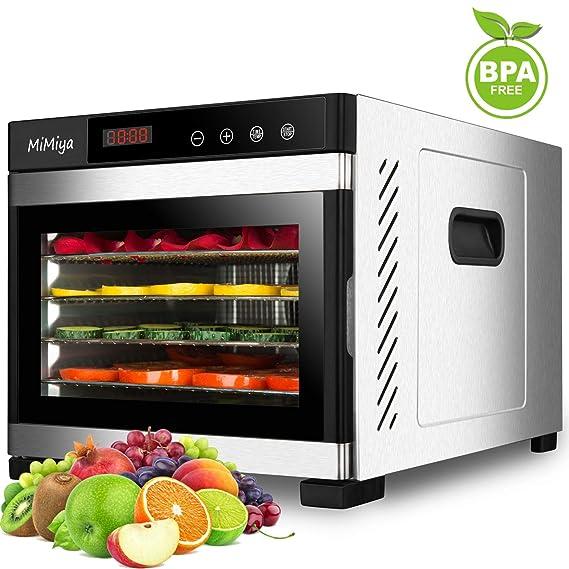 MiMiya Inoxidable Completo 6 Pisos Deshidratador de Alimentos, con Temporizador, Pantalla LCD, Temperatura Regulable Deshidratador de Frutas, ...