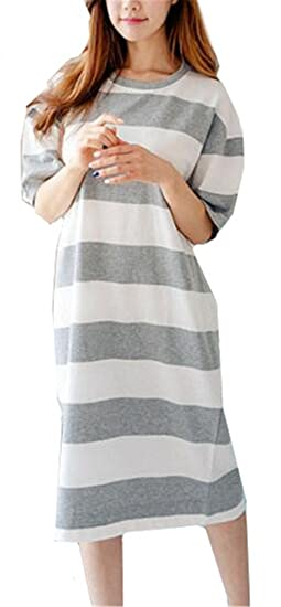 Tayaho Camisón Lactancia para Mujer Pijama Premamá Embarazo Manga Corta Camisones Tallas Grandes Nightdress A Rayas