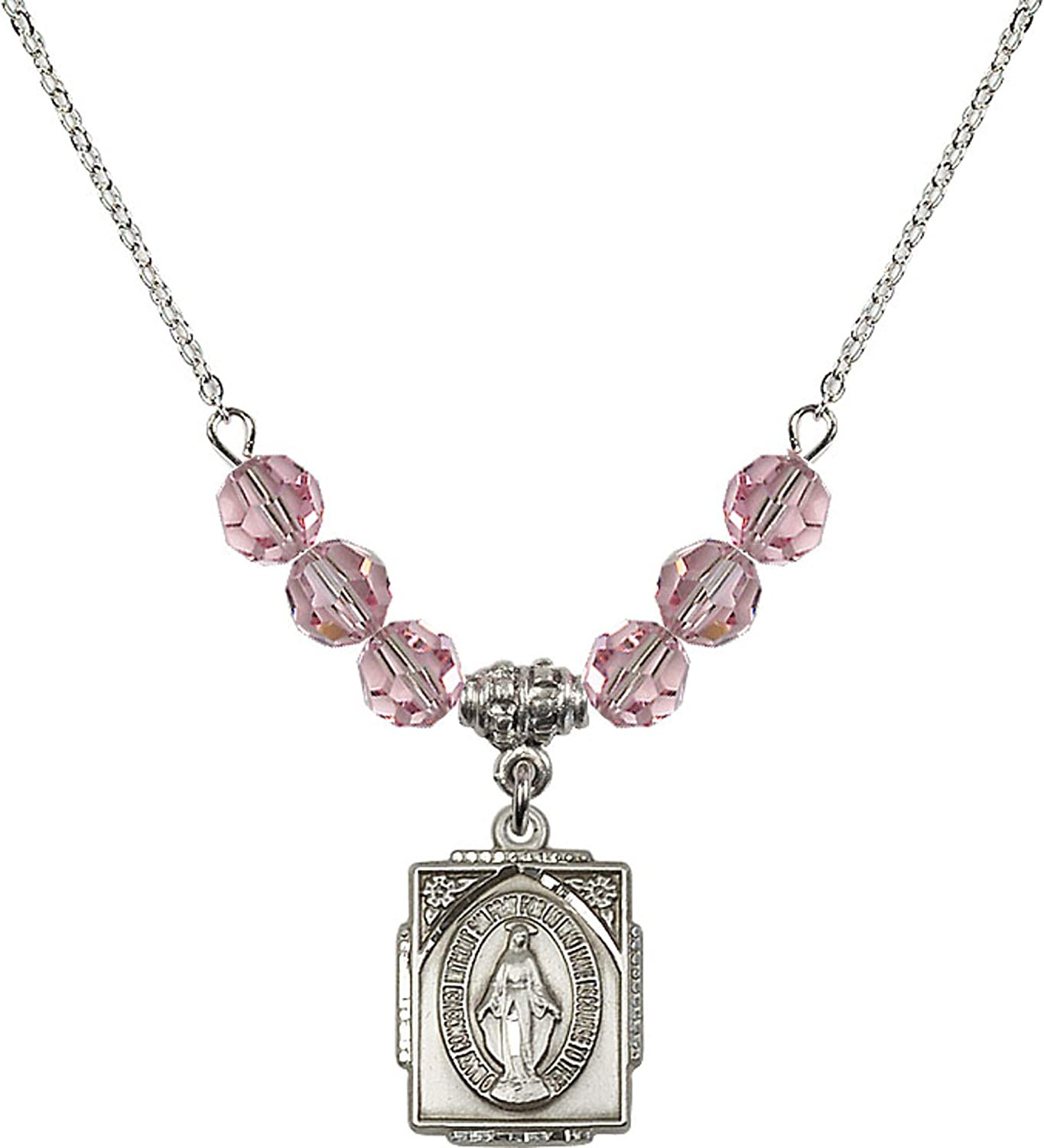 Bonyak Jewelry 18 Inch Rhodium Plated Necklace w// 6mm Light Rose Pink October Birth Month Stone Beads and Miraculous Charm