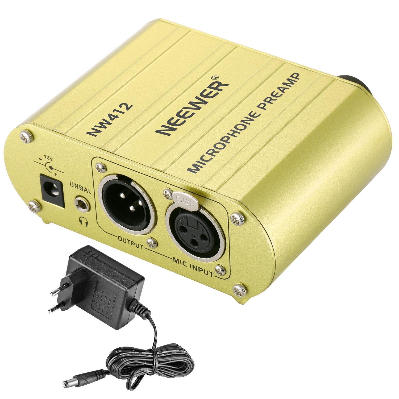 Neewer Canal Unique 48V Alimentation Fantôme Pré-amplificateur Compact Multi-fonction avec Adaptateur pour Tous Types de Microphone à Condensateur et Materiel d'Enregistrement Musical (Or) 40090052