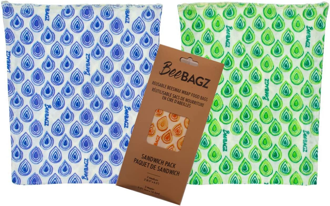 """Beeswax Wrap Storage Bag by BeeBAGZ, Reusable Food Storage Bags, Pack of 2, Plastic Free Biodegradable Food Wrap Alternative, Sandwich Pack, 8.5"""" x 6.5"""", (Multicolors)"""