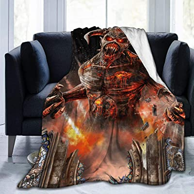 "WWSSTTOO Event Square-Iron Maiden Flannel Fleece Plush Throw Blanket Ligtweight Cozy Bed Couch Duvets 3D Print for Boys Girls 80"" x60: Kitchen & Dining"
