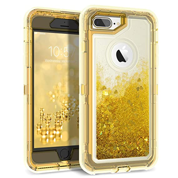 76ec2ab6a4 iPhone 8 Plus Case, iPhone 7 Plus Case, Dexnor Glitter 3D Bling Sparkle  Flowing Liquid Case Transparent 3 in 1 Shockproof TPU Silicone + PC Cover  for iPhone ...