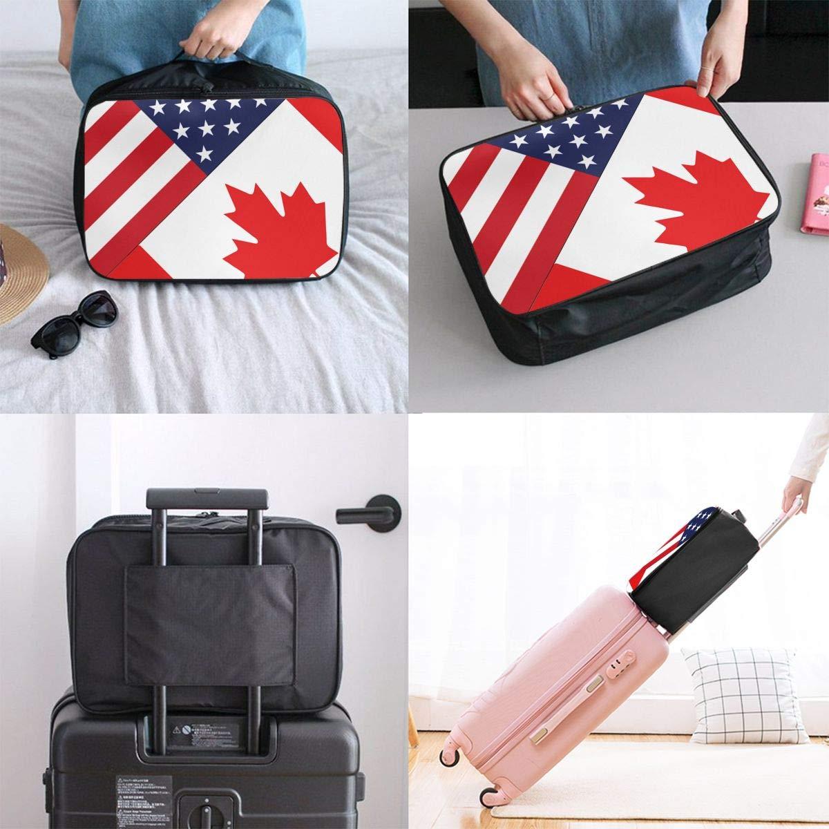YueLJB USA Canada Flag Combine Lightweight Large Capacity Portable Luggage Bag Travel Duffel Bag Storage Carry Luggage Duffle Tote Bag