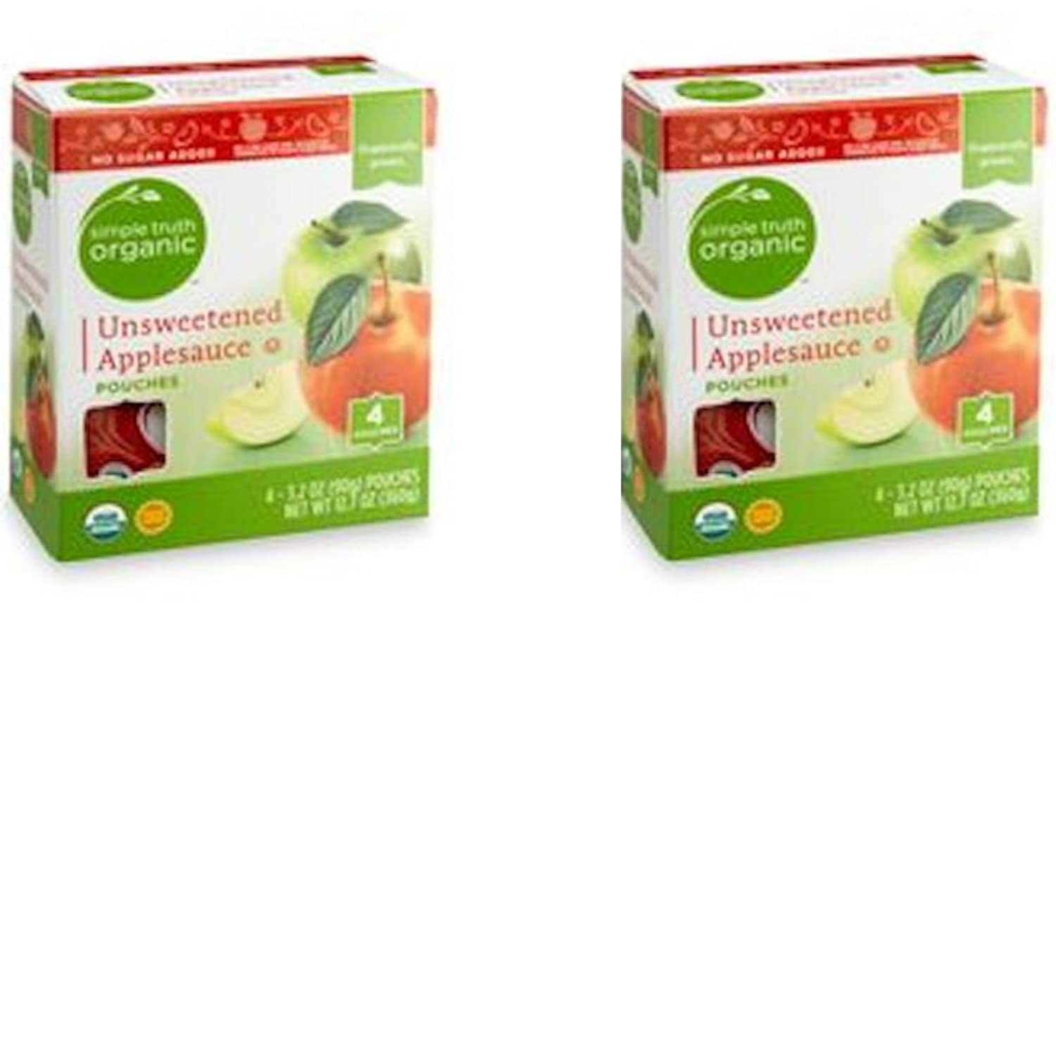 Simple Truth Organic Unsweetened Applesauce 4 count Pouches (Pack of 2)