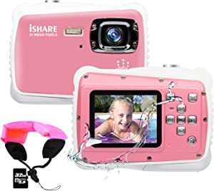 Kids Camera,3M Waterproof Camera with 2.0 Inch LCD Display,21MP HD Digital Camera for Children Include 32G Micro SD Card and Float Strap Pink…