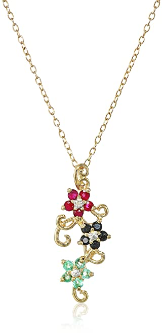 Amazon yellow gold plated sterling silver sapphire ruby yellow gold plated sterling silver sapphire ruby emerald and diamond accent aloadofball Images