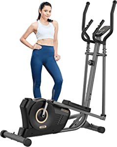pooboo Elliptical Machine for Home Use, Magnetic Elliptical Training Machines with Pulse Rate Grips and LCD Monitor, Smooth Quiet Driven Exercise Machine for Gym Office Indoor Workout