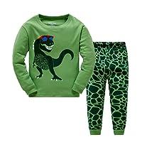 Popshion Boys Pyjamas Boys Dinosaur Kid Pjs Toddler Clothes Rocket 100% Cotton Long Sleeve Nightwear Sleepwear Set UK Size 1 to 7 Years