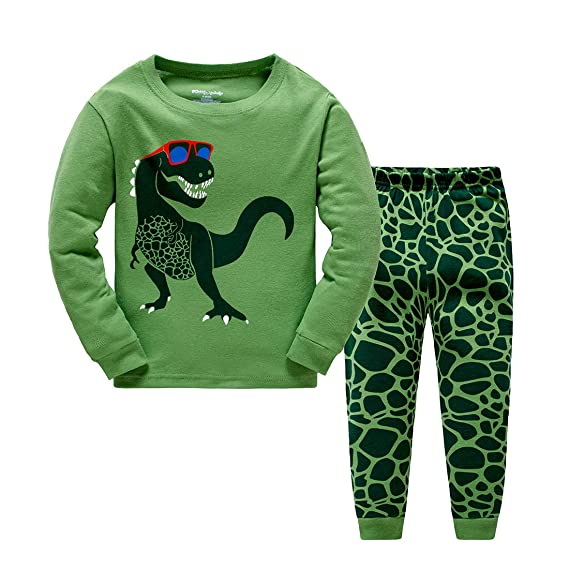ab62e3eac5 Popshion Boys Pyjamas Dinosaur Kids Pjs for Toddler Clothes Set 100% Cotton  Long Sleeve Nightwear Sleepwear 1 to 7 Years  Amazon.co.uk  Clothing