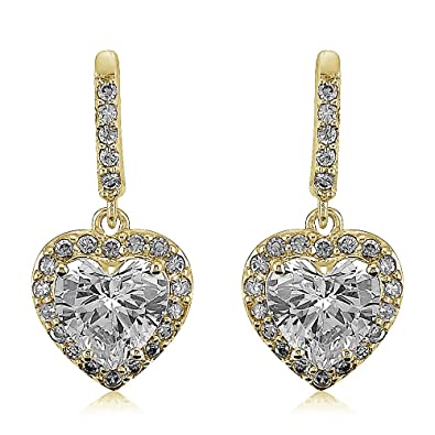 a21dab634 Image Unavailable. Image not available for. Color: Colortone 14k Yellow gold  Overlay Cubic Zirconia CZ Heart Halo Dangle Drop Earrings