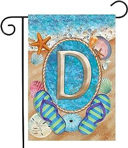 """Briarwood Lane Summer Monogram Letter D Garden Flag Flip Flops Seashells 12.5"""" x 18"""""""