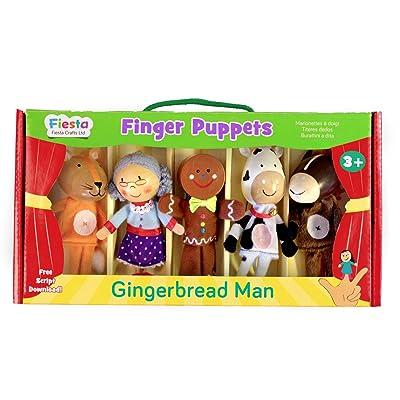 Fiesta Crafts Gingerbread Man Finger Puppet Set: Toys & Games