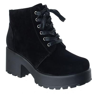 c5e300c1336 Womens Ladies Chunky Block Heel LACE UP Biker Combat Platform Ankle Boots  Shoes  Black Faux