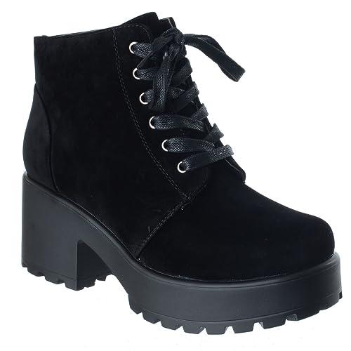 neuves pour femmes épais Bloque MI TALON HAUT LACET MOTARD COMBAT  plateformes Bottine cheville taille  Amazon.fr  Chaussures et Sacs 12206929d533
